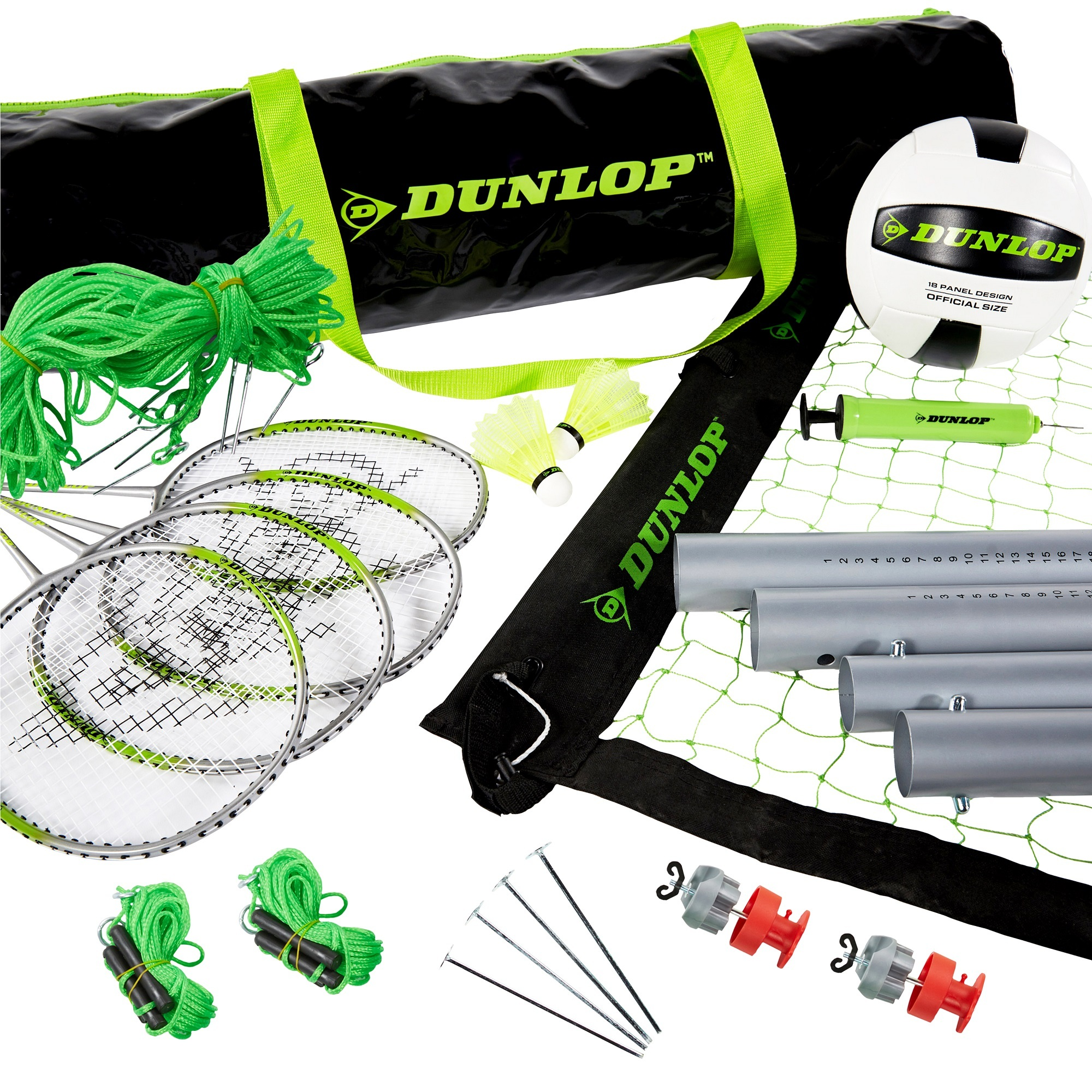 DUNLOP Premium Volleyball and Badminton Combo Set
