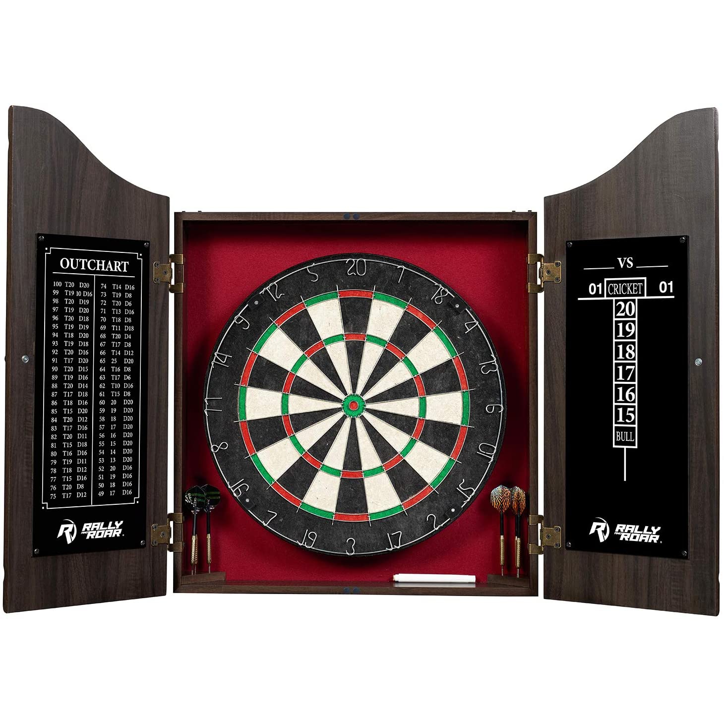 Rally and Roar Classic Dartboard Cabinet Set